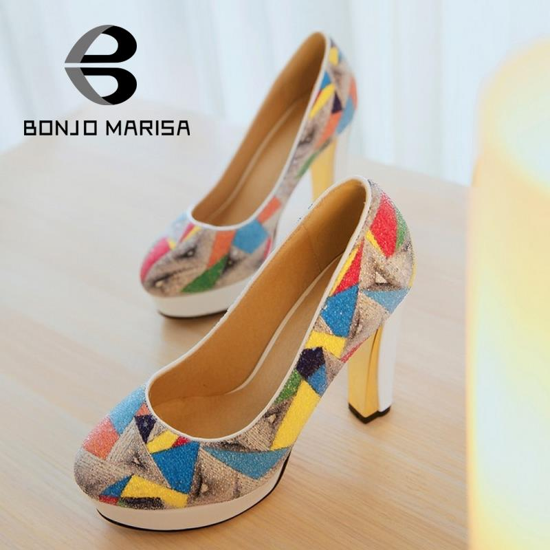 Special New Women Pumps 2015 Brand Design Multi-colored Chunky High Heels Solid Prom Wedding Shoes Round toe Platform Pumps<br><br>Aliexpress