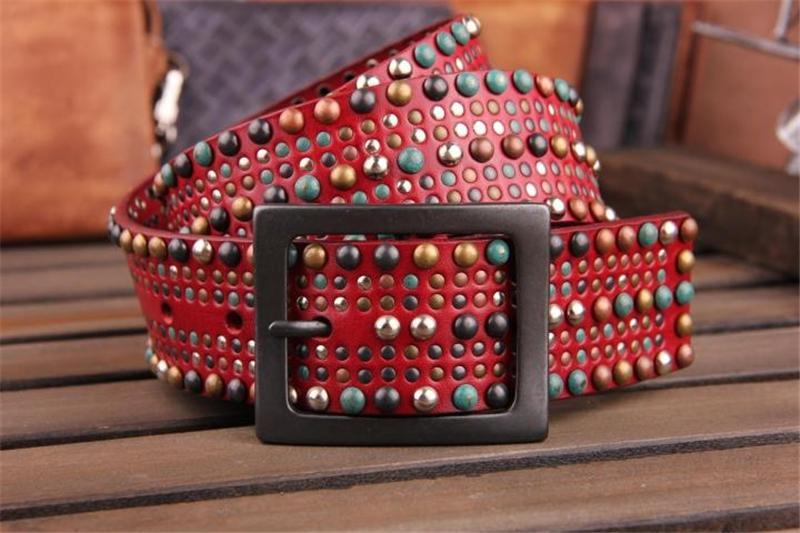 Genuine Leather Colorful Stud Rock Belts For Women Wide Waist Belt Punk Cowgirl Famale Belt Women Rivet Strap Ceinture WBT0058(China (Mainland))