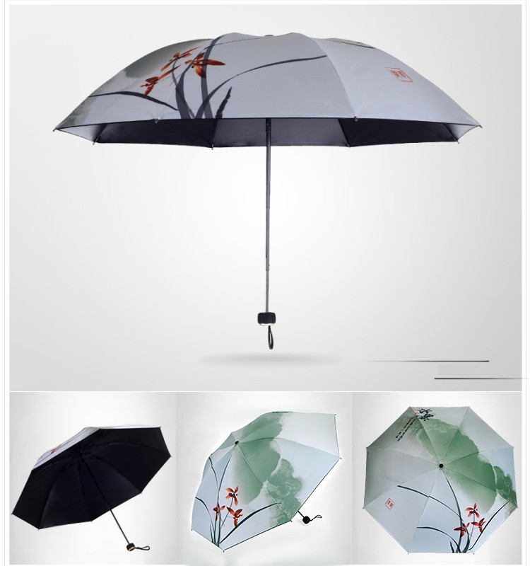 Chinese Ink Painting Orchid Fish Folding Umbrella Super Windproof ...