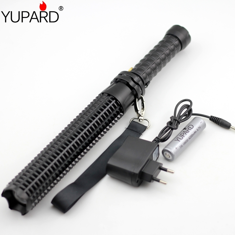 YUPARD Powerful led flashlight 18650 CREE XM L2 self defense Patrol LED high power rechargeable flashlight+battery+charger(China (Mainland))