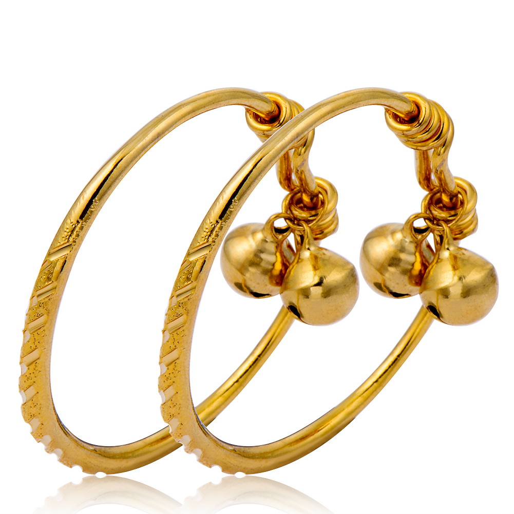 24K Gold Color Small Carved Infant Newborn Cute Baby Adjustable Bangle Bracelet for Boys Girls With Bells Gift Fashion Jewelry(China (Mainland))