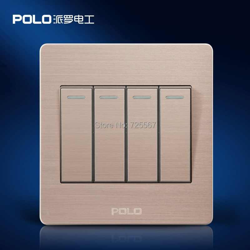 Wall Light Switches Us : Wholesale POLO Luxury Wall Switch Panel,Light Switch,4 Gang 2 Way,Push Button Switch,Champagne ...