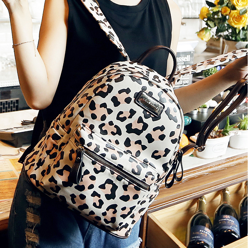 2015 Backpacks Leopard Women Leather Backpack Preppy Style School Bag for Girls Rucksack Travel Backpack Mochilas Femininas