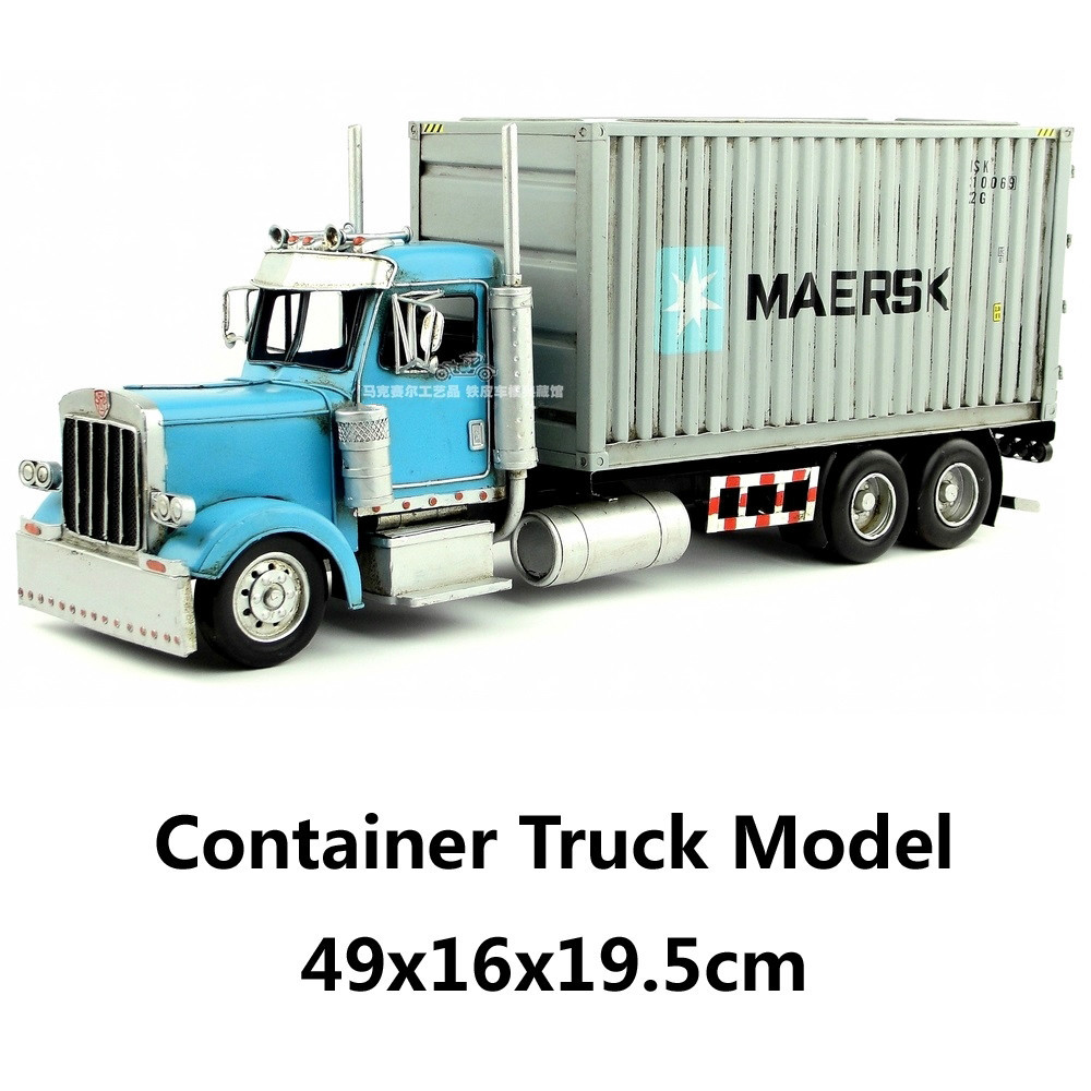 Container Truck Model handmade vintage metal car model home office bar decoration gift(China (Mainland))