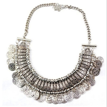 Fashion Bohemian Fine Jewelry Maxi Vintage Choker Collar Statement Necklace Women Coin Tassel Collier Necklaces Pendants