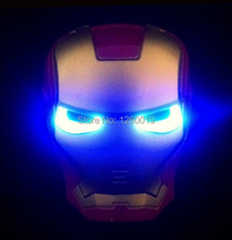 New Hot Sale Iron Iron Man mask for children with lamp light for party  Iron Man mask For Halloween+Free shipping