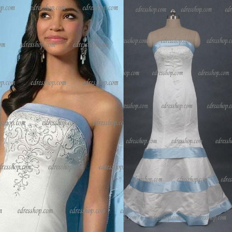Strapless Trumpet Beaded Back Buttons Bow Satin Light Blue Trim Wedding Dress In Wedding Dresses