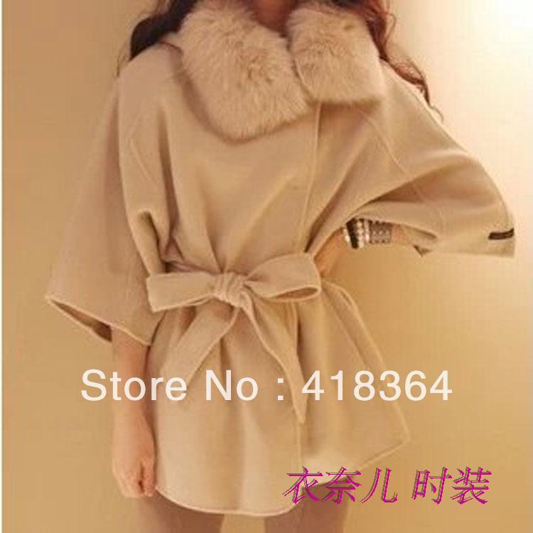 Autumn 2013 ladies female woolen cloak outerwear fur collar medium-long overcoat