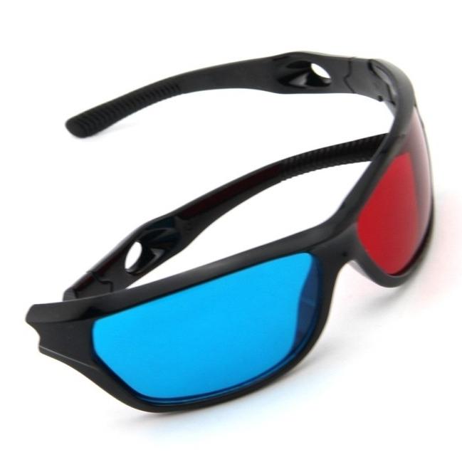 Óculos 3D de plástico azul Plasma TV Movie Dimensional Anaglyph Framed 3D Vision óculos(China (Mainland))