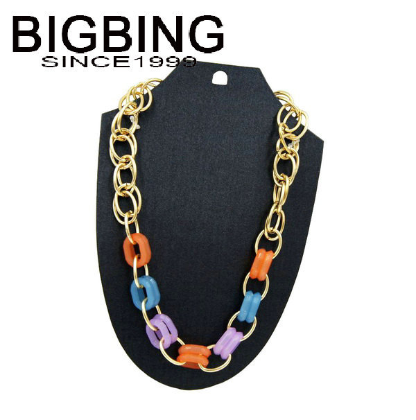 BigBing fashion jewelry fashion Golden chain Necklace female short Necklace wholesale jewelry T255(China (Mainland))
