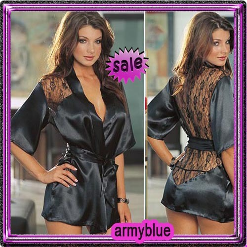 free/drop delivery Hot Sexy Fishnet Satin Lingerie Lace Belt Chiffon Short Sleeve Sleepwear Robe Gown Thong 01A001508