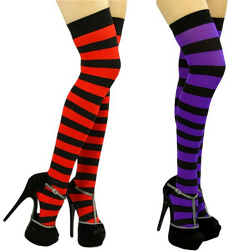 10 Color Black Red Blue Fashion Wide Vertical Striped Women's Sexy Thigh High Stockings