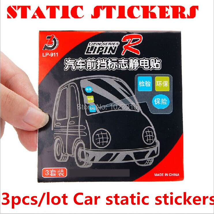 Car window clear cling static electricity stickers badge environmental vehicle state inspection