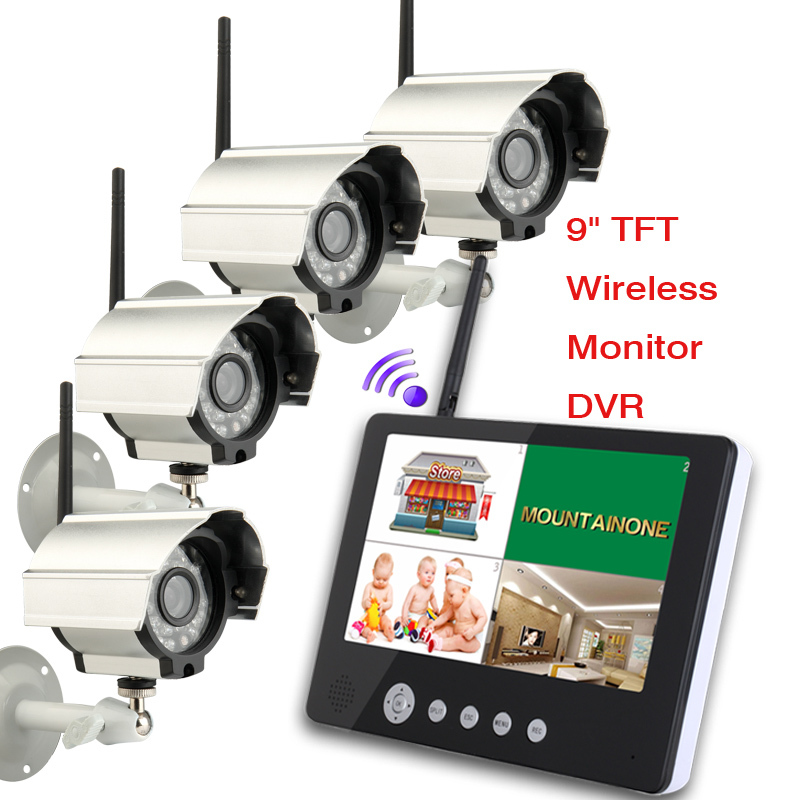 """Free shipping 4CH digital wireless camera & DVR system 32GB mini SD card recording 2.4 GHz wireless 9"""" tft lcd baby monitor(China (Mainland))"""