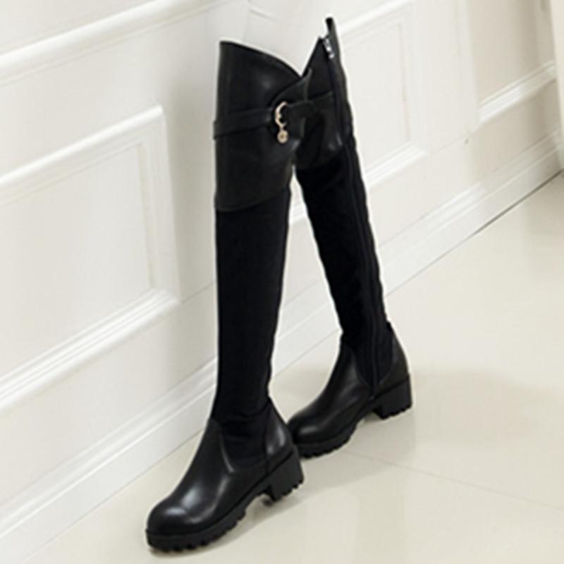 Здесь можно купить  2016 new arrive round toe zipper buckle women winter boots med heels over the knee boots fashion genuine leather boots shoes   Обувь