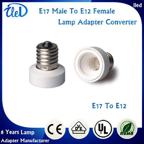 100pcs/lot E17 to E12 lamp holder adapter converter E17 male to E12 female adapter converter(China (Mainland))
