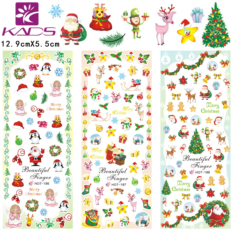 HOT196-198 Christmas style with green tree & deer design nail art sticker For full cover nail sticker Christmas nail sticker(China (Mainland))