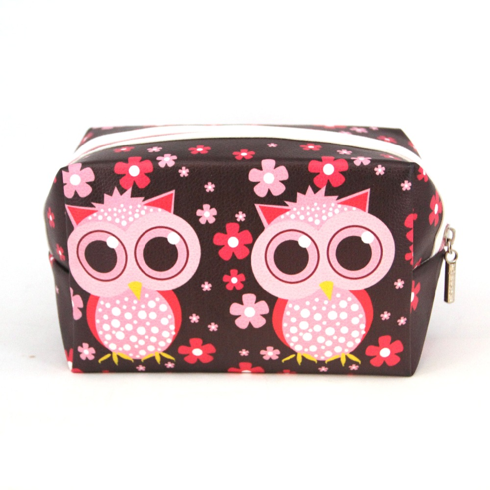 2016 New Cute Cartoon Leather Lady Cosmetic Bag Makeup Owl Folded Bag Purse Pouch With Zipper Women Travel Wash Bag Waterproof(China (Mainland))