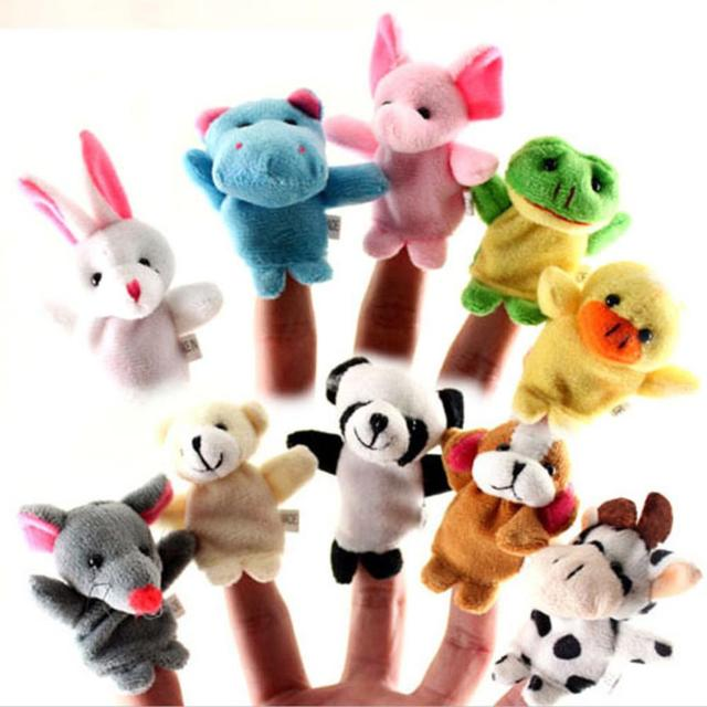 2016 NEW 10 Pcs/lot Baby Plush Toys Cartoon Happy Family Fun Animal Finger Hand Puppet Kids Learning & Education Toys