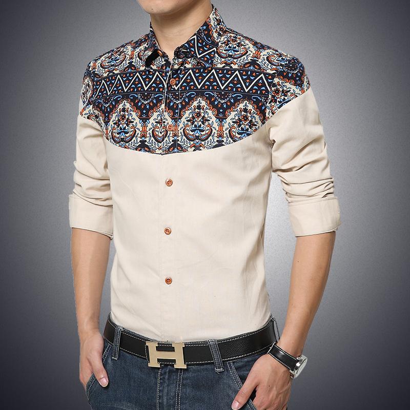 2016 New Men Cotton Shirts Business PatchWork Dress Shirt For Men Long Sleeve Designer Clothes Casual