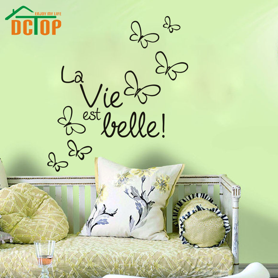 Fantastic Butterfly Vinyl Wall Stickers Home Decor La Vie Est Belle! DIY Wall Art Decals(China (Mainland))