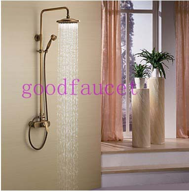 Free shipping wholesale and retail bathroom shower faucet antique bronze bathroom shower set faucet mixer tap wall mount shower(China (Mainland))