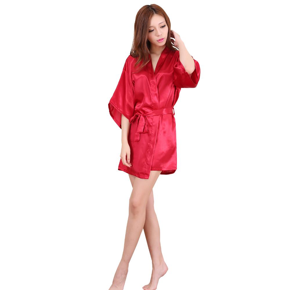 Plus Size S-XXL 2016 Rayon Longue Bathrobe Womens Kimono Satin Long Robe Sexy Lingerie Hot Nightgown Sleepwear with Belt(China (Mainland))