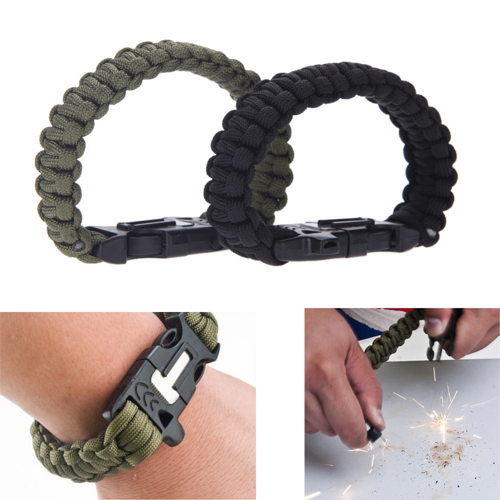 Outdoor paracord buckles bracelet with flint fire starter emergency whistle travel camping Rescue Rope equipment survival kit(China (Mainland))