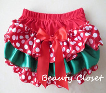 Baby Christmas Bloomer,Baby Girl First Christmas Day Cotton Diaper Cover,Todders Xmas Polka Dot Bloomer(China (Mainland))