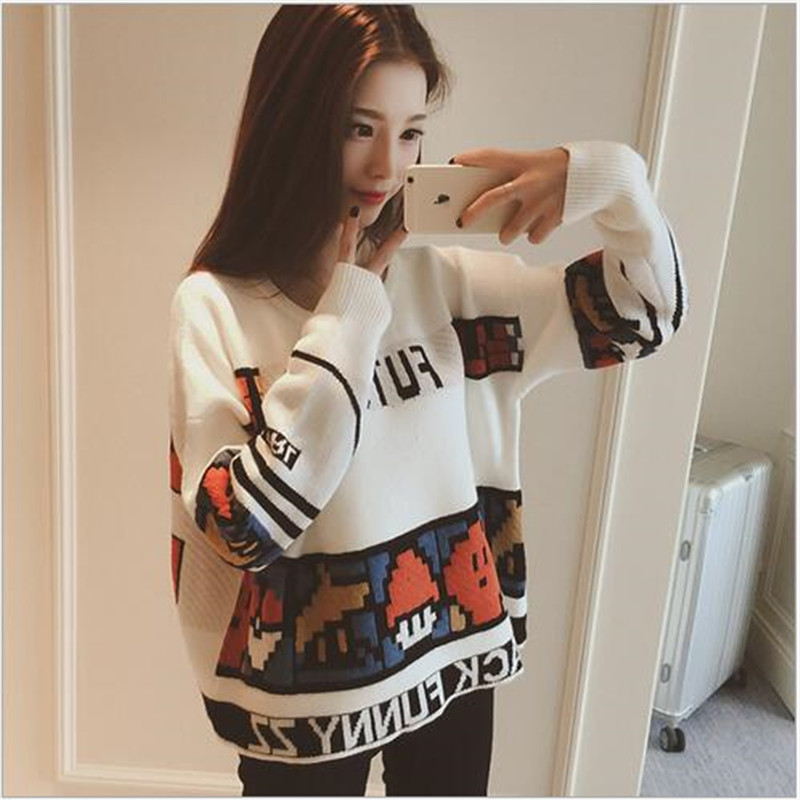 Kroean 2016 New Winter Fashion Mario Cartoon Pattern Knitted Sweater Loose Big Yards Round Collar Women Pullover SweatersA1631(China (Mainland))