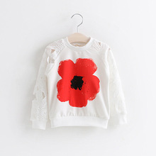 girls fall autumn sweatshirts  2016 spring clothing for teenage pattern fashion flowers lace age 14 13 12 years old clothes(China (Mainland))
