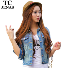 TC Women Jeans Jackets Short Tops 2015 Spring Autumn Long Sleeve Denim Coat Vintage Ripped For Women Clothing chaquetas mujer
