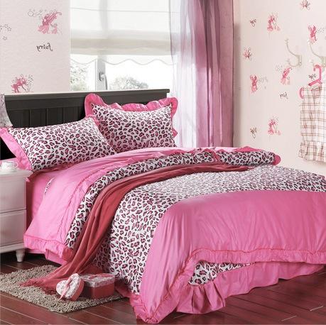 Bedding korean bedding set pink leopard bedding 4pc sheets egyptian cotton king size duvet - Pink cheetah bed set ...