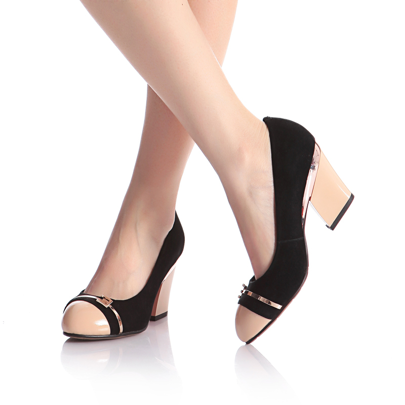 Kickway women new designer real leather fashion high heel shoes brand thick heel pumps shoes women WA10-10Y free shipping(China (Mainland))