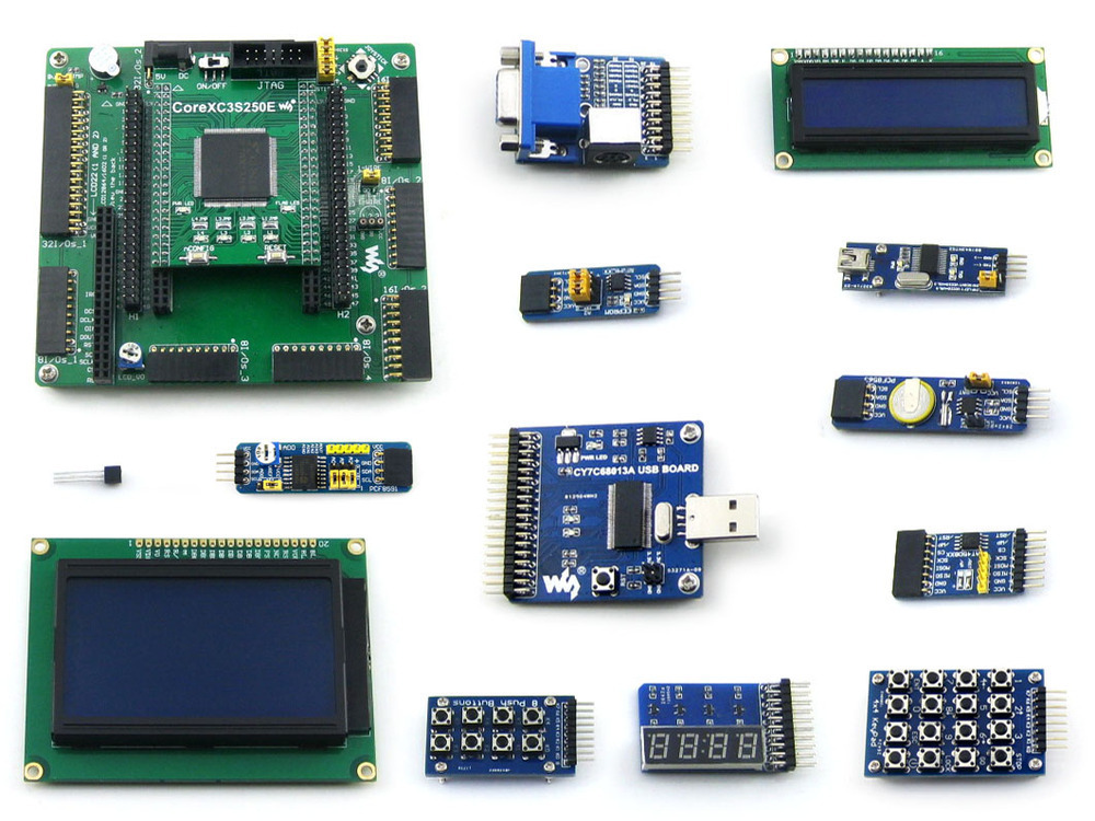 XILINX FPGA Development Board Xilinx Spartan-3E XC3S250E Evaluation Board kit+ LCD1602 +LCD12864+12 Modules=Open3S250E Package B(China (Mainland))