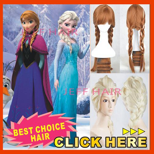 Wig Anna Popular cartoon girl Hair FR0ZEN Wigs children Cosplay Wig Elsa / Anna Wigs princess white fluffy long hair(China (Mainland))