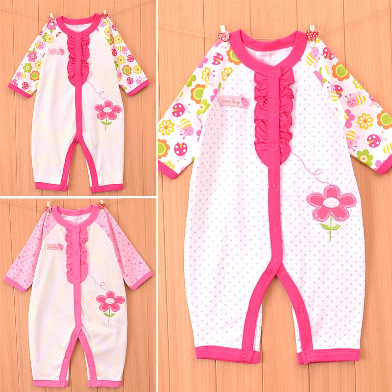 2015 Spring cotton infant rompers baby newborn jumpsuit little girls floral sleepwear(China (Mainland))