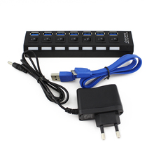 1Set 7-Port USB 3.0 Black Hub with High Speed Adapter ON/OFF Switch+European AC Power Adapter for Laptop / PC