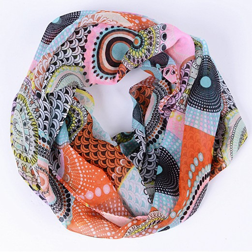 Free Shipping Lovely Female Stripe Dot Ring Scarf Fashion Women Lavender Silk Infinity Scarf Nice Character