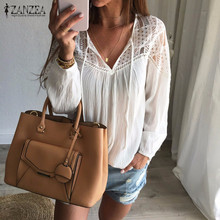 Buy Autumn Shirts 2017 Hot Sale Women Casual Loose Patchwork Lace Crochet Blouses Sexy V Neck Long Sleeve Blusas Tops S-5XL for $7.20 in AliExpress store