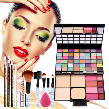 Makeup Palette Combination with eyeshadow lip gloss Blusher 5PCS Makeup Brush Puff Eyebrow Pencil Eyeliner Cosmetics Kit