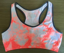 Women's Active Seamless Tie Dye Sports Bra Gym Underwear Bras with Contrast Color
