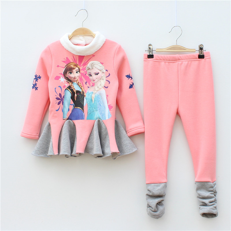 freeshipping 2015 Autumn&Winter Children cloth set coat+pants cashmere sets girls dress thickened with snow romance(China (Mainland))