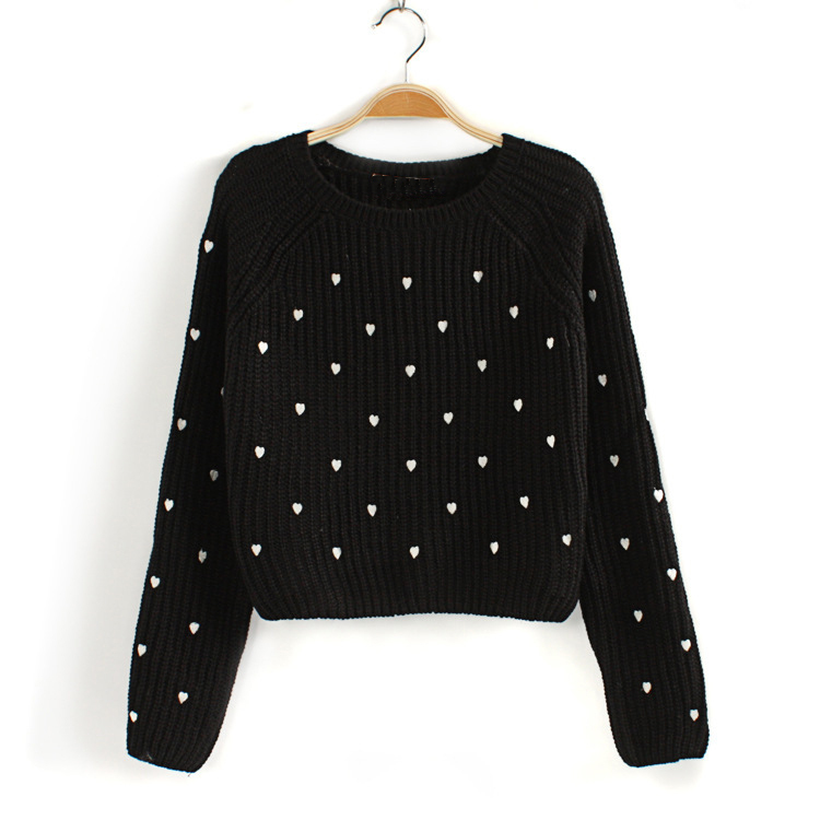 Fashion 2015 Spring Womens Dot Pattern Sweaters Casual Knitted Pullovers Knitting Jumpers Female Knitwear M633(China (Mainland))