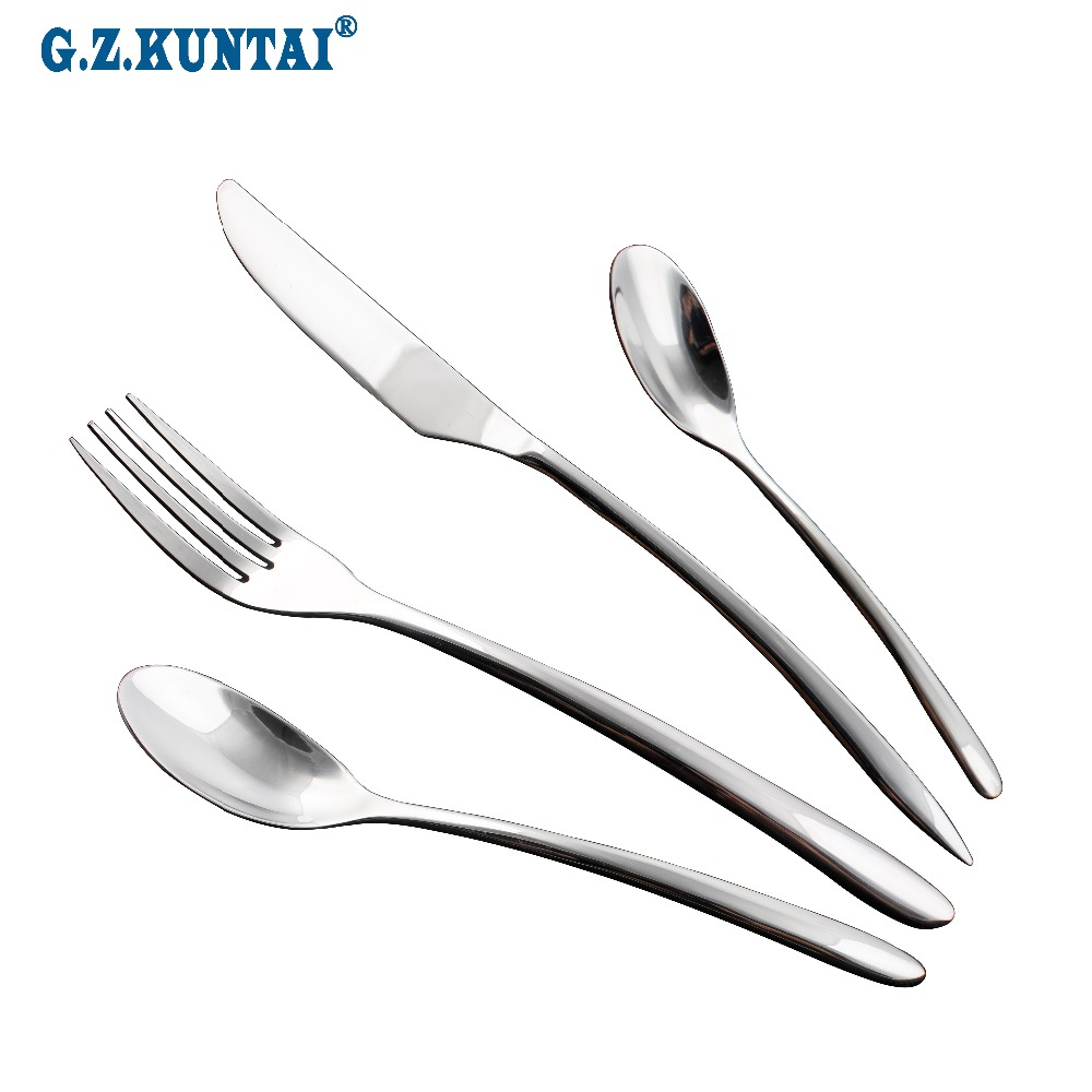 Superior Quality Flatware Set Table Dinner Knife Fork Serving Spoon 18/10 Stainles Steel Dinnerware Set 24 Piece Cutlery 212g(China (Mainland))