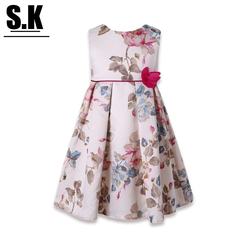 S.K High-end Clothing 2016 Summer Flowers Printed Girl Dress Wedding with Bow Sleeveless Princess Dresses for Dresses(China (Mainland))