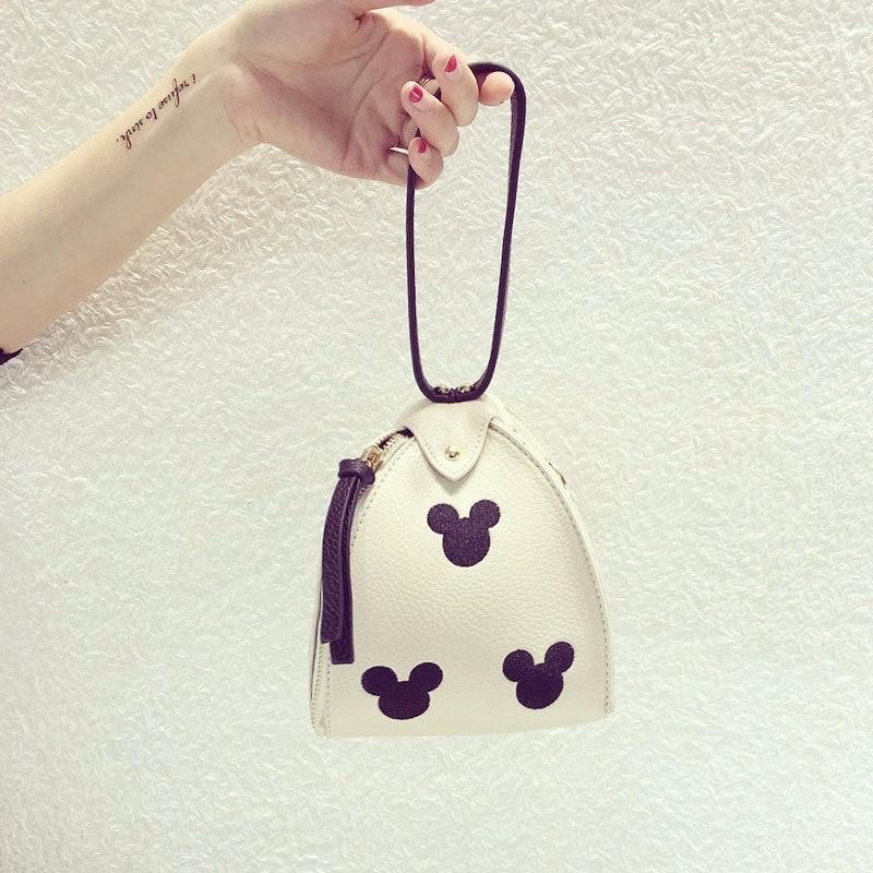 Cute Mini Wristlet Bag Ladies Trendy Casual Bucket Bag  Women Lovely Mickey Classy PU Leather Bag Ladies Mini Hand Bag