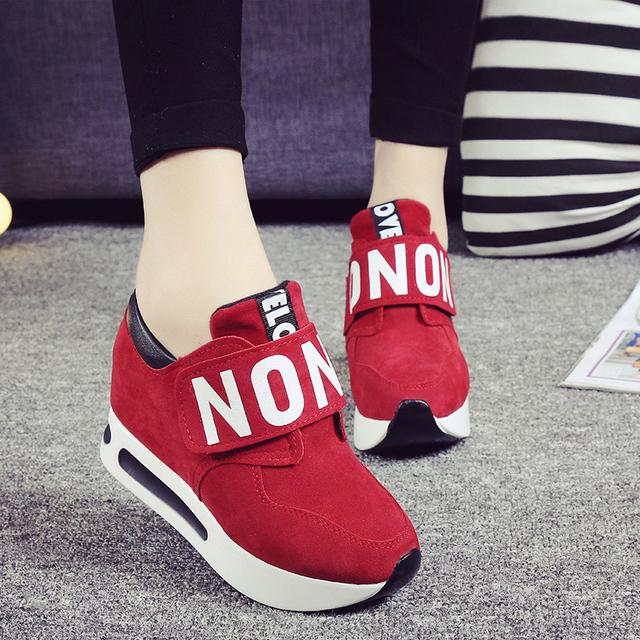 2016 Harajuku женщины свободного покроя холст обувь женщина платформы клинья толстой ...