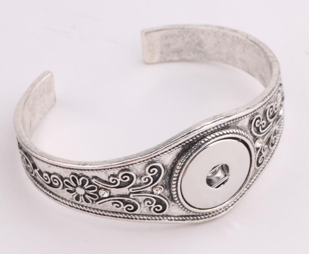 JACK88 10 pcs/lot  Vintage Flowers Snaps Bracelet Jewelry 18mm Press Metal Ginger Snap Buttons Bracelet Bangle Jewellery  M561<br><br>Aliexpress