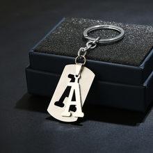 DIY Letras A-Z Corrente chave Chaveiro de Aço Inoxidável Para Homens Mulheres Nome Do Detentor da Chave Do Anel Chave Do Carro Carta Simples Festa presente Da Jóia(China)
